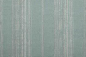 Brompton - Mint - Patchy light grey stripes printed repeatedly on a very light turquoise coloured linen fabric background