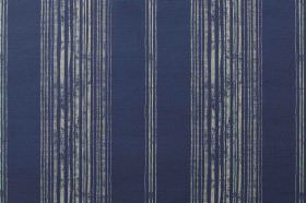 Brompton - Navy - Navy coloured fabric made from linen, with a striped design in light grey which has a patchy effect