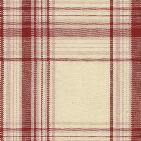 Brighton Check - Peony - Beige cotton fabric with red checkered pattern