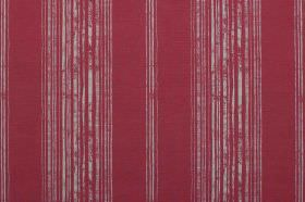 Brompton - Peony - Deep red interspersed with patchy grey stripes on this linen fabric