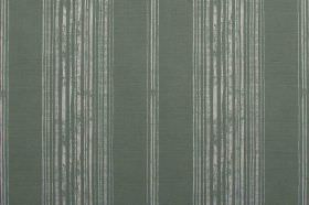 Brompton - Sage - Patchy stripes on a plain linen fabric background, in light grey and dark green