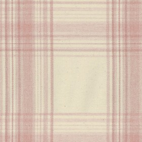 Brighton Check - Pink - Beige cotton fabric with pink checkered pattern