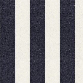 Devon Stripe - Black - Cotton fabric patterned with evenly sized stripes in off-white and black