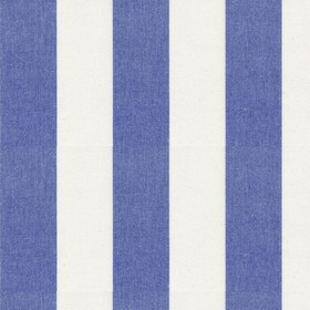 Devon Stripe - Indigo - Bright blue stripes printed at equal intervals on a white cotton fabric background