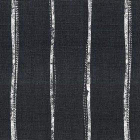 Ealing - Charcoal - Uneven, narrow grey stripes on a plain black linen fabric background