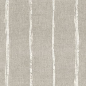 Ealing - Linen - Green-grey linen fabric printed with vertical light grey stripes which are narrow and not straight