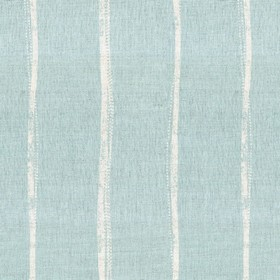 Ealing - Mint - A design of stripes which are not straight on light teal coloured linen fabric