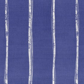 Ealing - Navy - Linen fabric in dark blue, printed with uneven, narrow, light grey stripes