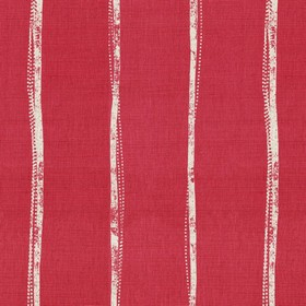 Ealing - Peony - Light grey and deep red linen fabric featuring a design of narrow stripes which are not straight
