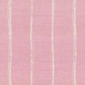 Ealing - Pink - Stripes which are not straight printed in light grey on light pink linen fabric