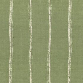 Ealing - Sage - Dark green linen fabric printed with vertical light grey stripes which are narrow and uneven