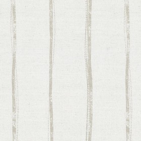 Ealing - White - Uneven light green stripes which are not straight, on a background of light grey fabric made from linen