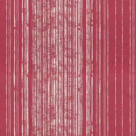 Fulham - Peony - Stripes in patchy light grey, printed so they get closer together, on linen fabric in a deep scarlet colour