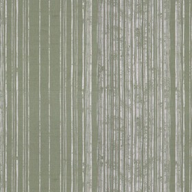 Fulham - Sage - A pattern of stripes which get closer together printed in patchy light grey over a dark green linen fabric background
