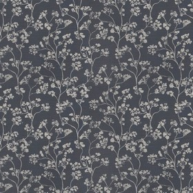 Kew - Charcoal - Tiny grey florals printed on a deep black linen fabric background