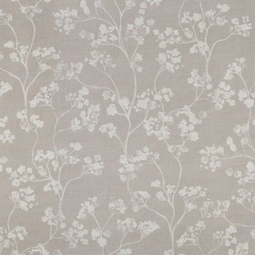 Kew - Linen - Grey-brown linen fabric printed with a small floral design in light grey