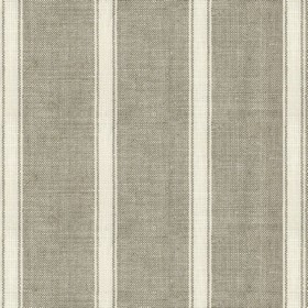 Angus Stripe - Nordic Ivory - Ash brown linen fabric with ivory stripes