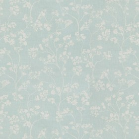 Kew - Mint - Linen fabric in duck egg blue-green, with a grey pattern of small flowers and curving stems