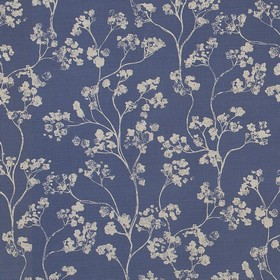 Kew - Navy - Elegant navy blue and light grey floral print fabric made from linen