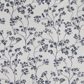 Kew Nordic - Charcoal - Light grey linen fabric printed with a pattern of small black flowers and curving stems