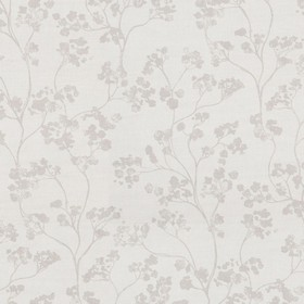 Kew Nordic - Linen - Brown-grey flowers on a light grey background of linen fabric