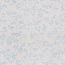 Kew Nordic - Mint - A pattern of small, light blue flowers printed on a light grey linen fabric background