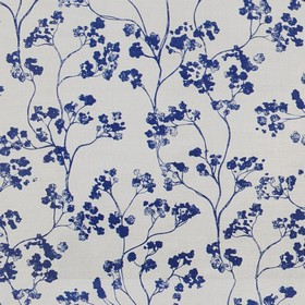 Kew Nordic - Navy - Linen fabric in light grey, patterned with small, elegant flowers in navy blue