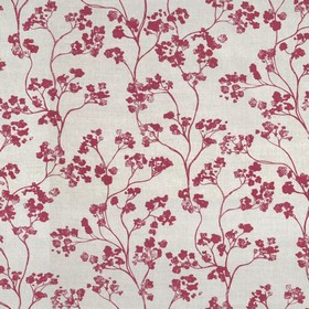 Kew Nordic - Peony - Fabric made from red and light grey floral print linen