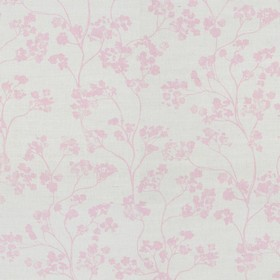 Kew Nordic - Pink - Fabric made from linen with a small pink floral pattern on light grey