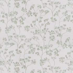 Kew Nordic - Sage - Green flowers with curving stems printed on linen fabric in a light grey colour