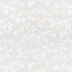 Kew Nordic - White - Grey linen fabric featuring a pattern of small flowers in light grey