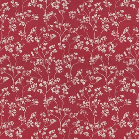 Kew - Peony - Deep red linen fabric as a background for a pattern of small light grey flowers