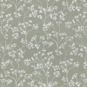 Kew - Sage - Small grey flowers with curving stems printed on linen fabric in dark green