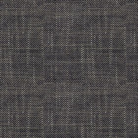 Arran - Charcoal FR - Monochrome narrow zigzags in a Herringbone style on fabric combining viscose and linen
