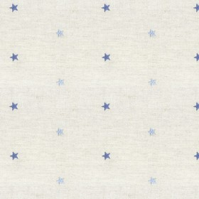 Embroidered Union - Star Blue - Tiny stars in two different shades of blue on a light gren cotton and linen blend fabric background