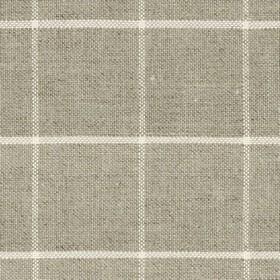 Skye Check - Oatmeal - Cream and very pale grey lines creating a very simple check on light brown coloured linen and cotton blend fabric