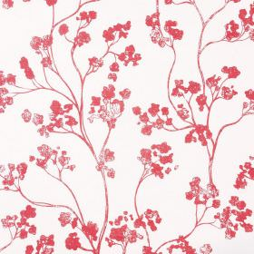 Kew Baltic - Peony - Tomato red and white coloured floral blossom patterned fabric made from a combination of linen and cotton