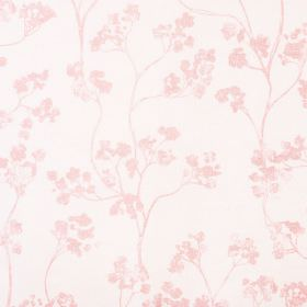 Kew Baltic - Pink - Subtly patterned linen and cotton blend fabric covered with a delicate floral blossom design in pale shades of pink