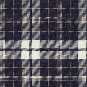 Ayr - Dark Navy - Dark navy blue, white and deep red making up a classic checked design on fabric woven from viscose and linen