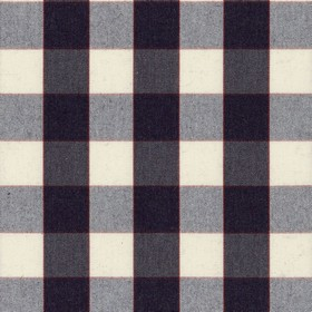 Essex Check - Dark Navy - 100% cotton fabric made with a simple checked design in off-white, deep red and a very dark shade of navy blue