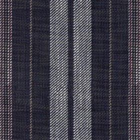 Galloway - Dark Navy - Viscose and linen blend fabric woven with a vertical stripe design in white, dark red and very dark navy blue
