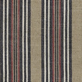 Jura Stripe - Dark Navy - Fabric made from viscose and linen with a vertical stripe design in beige, white, dusky red and very dark grey