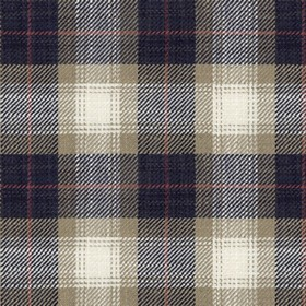 Kintyre Check - Dark Navy - Checked viscose and linen blend fabric, woven using very dark navy blue, beige, white and dark red coloured thre