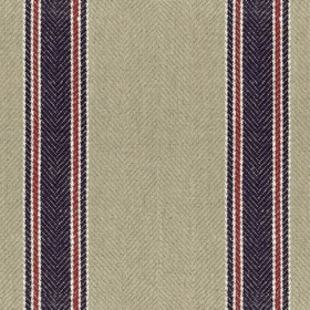 Moffat - Dark Navy - Vertical dark navy blue, white and red stripes running down a beige 100% linen fabric background