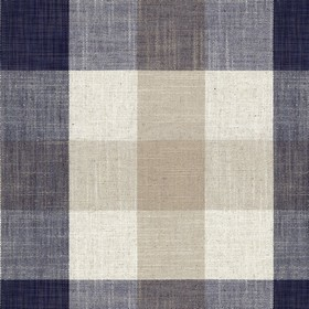 Oban Check - Dark Navy - Cream, white and very dark blue coloured checked viscose and linen blend fabric