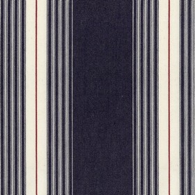 Panama - Dark Navy - 100% cotton fabric made with a simple vertical stripe design in white, red and a very dark shade of blue