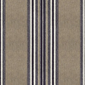 Regency - Dark Navy - Striking thin black and white stripes running vertically down coffee coloured fabric made from 100% cotton