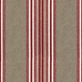 Regency - Peony - Iron grey coloured 100% cotton fabric, featuring a striking, thin, vertical stripe pattern in bright red and white