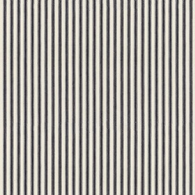 Ticking 01 - Dark Navy - Thin charcoal coloured stripes running vertically down a white 100% cotton fabric background