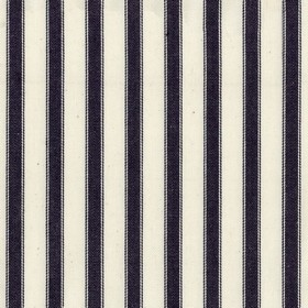 Ticking 2 - Dark Navy - White 100% cotton fabric featuring a simple, classic vertical stripe design in very dark midnight blue